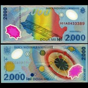 1999 Romaina 2000 Lei 1st Polymer Note RARE