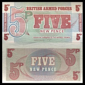 1972 5 Pence Military Note Crisp Uncirculated
