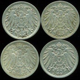 1901-13 Germany 5pf XF/AU 4Pcs