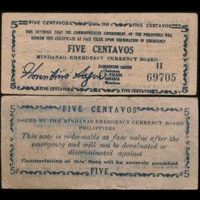 1943 WW2 Guerrilla Rebel Philippines 5c Note Mindanao