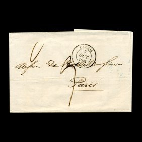 1862 France Calais Stampless Cover Scarce