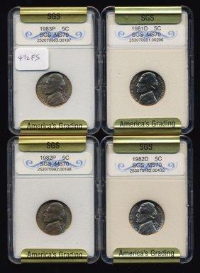 1981-83 Jefferson Nickel Set Graded Gems