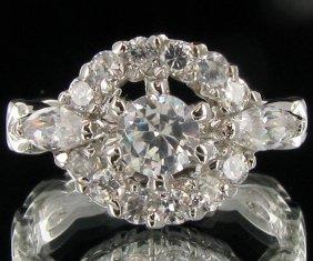 14.85twc Diamond Simulant White Gold Vermeil Ring