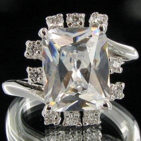 23.75twc Diamond Simulant White Gold Vermeil Ring