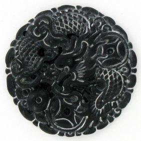 Chinese Handcarved Vintage Black Jade Dragon