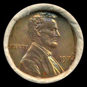 1974 Linc 1c Bu Scarce Unopened Bank Roll 50 Gems