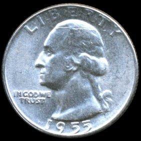 1955 Washington 25c Gem Ms65 Error