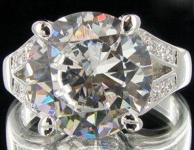 33.15twc Diamond Simulant White Gold Vermeil Ring