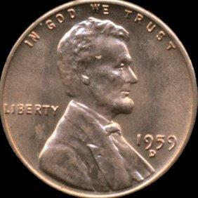 1959d Lincoln Cent Ms66/67 Reverse Cud Error