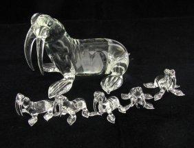 Handcrafted Glass Walrus Mom & Kids
