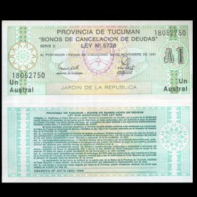 1991 Argentina 1 Astral Tucuman Script Gem Crisp Unc
