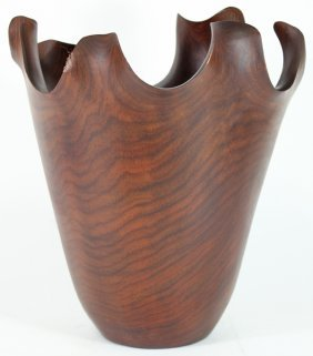 Cassia Burl Handcarved Wood Vase
