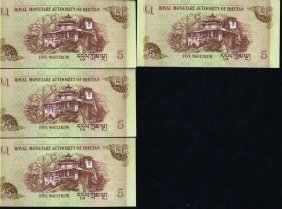 2006 Buthan 5n Note Crisp Unc 10pcs Scarce Sequential