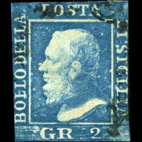 1859 Sicily 2gr Stamp Ultramarine