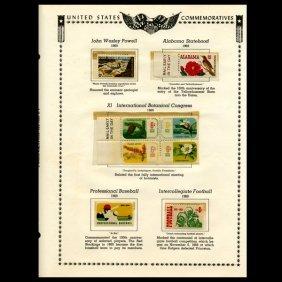 1969 Us Stamp Album Page 8pcs