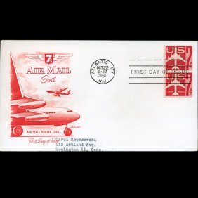 1960 Us First Day Airmail Pair Postal Cover