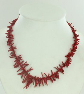 140twc Natural Sicilian Red Coral Necklace Strand