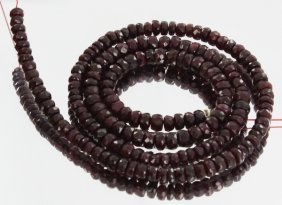 52ct Red Ruby Faceted Bead Strand
