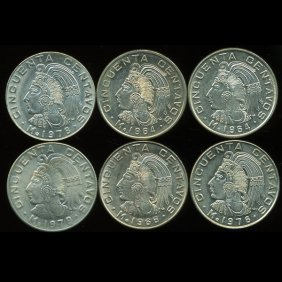 1964-79 Mexico 50c Ms63/65 6pcs