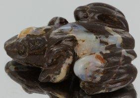 90ct Natural Boulder Opal Carved Frog