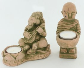 Sandstone Genesh & Monk Candle Holder Pair
