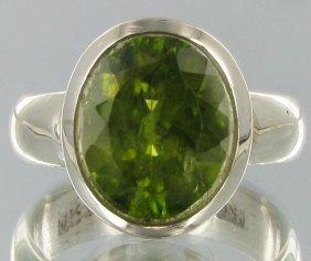 46.65twc Natural Pakistan Peridot Sterling Ring