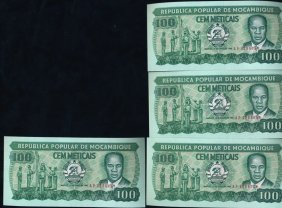1983 Mozambique 100m Crisp Unc Note 10pcs Scarce