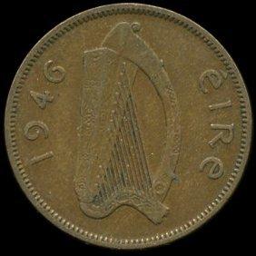 1946 Ireland 1/2p Xf