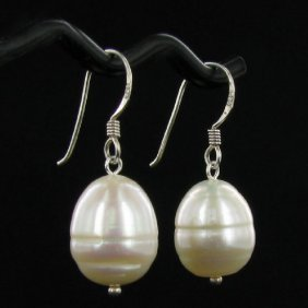 Saltwater Baroque White Pearl Earrings
