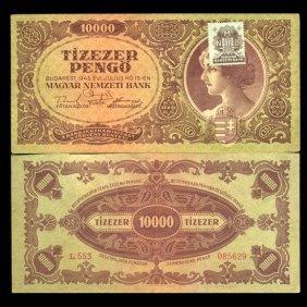 1945 Hungary 10000 Pengo Note Hi Grade Scarce