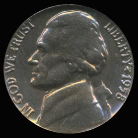 1958 Jefferson Nickel Graded Gem Rainbow Toned