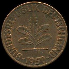 1950d Germany 1pf Au