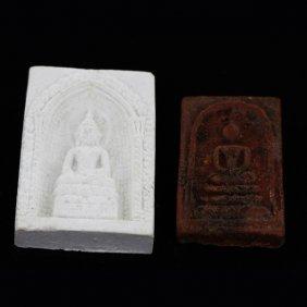 Vintage Thai Clay Buddha Amulet Pair