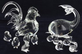 Blown Glass Animal Family Rooster & Whale
