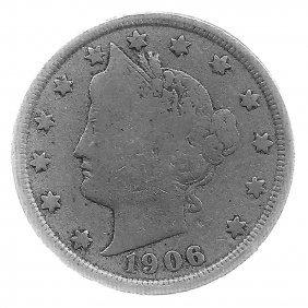 1906 Better Grade Lib 5c Partial Liberty Showing