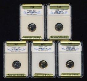 1985-87 Roosevelt Dime Set Graded Gems