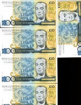 1986 Brazil 100c Crisp Unc Note 10pcs Scarce Sequential