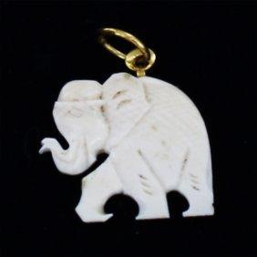 Bone Carved Elephant Pendant W/ Gold Vermeil