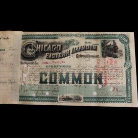 Rare 1880s Chicago Eastern Illinois Railroad Stock