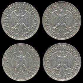 1966d/f Germany 1 Mark Hi Grade Scarce 4 Pcs