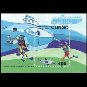 1993 Congo 400f Submarine Souvenier Sheet Mint