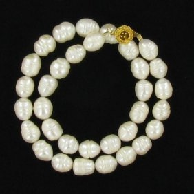 Saltwater Baroque White Pearl Necklace