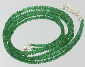 57.05ct Zambian Emerald Faceted Bead Strand