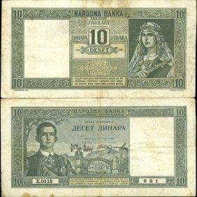 1939 Yugoslavia 10 Dinara Better Grade Note