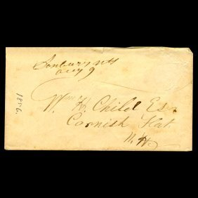 1856 Ny Stampless Cover Scarce