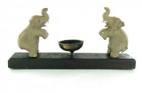 Elephant Pair Tea Candle Holder