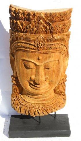 Handcraved Teak Buddha On Base