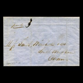 1853 Ct Stampless Cover Scarce