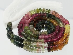 47.2ct Multi-color Tourmaline Faceted Bead Strand