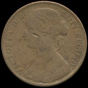 1861 Great Britain Penny F/vf Rare Variety
